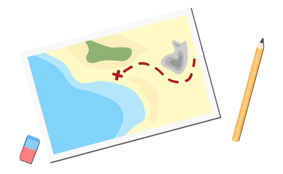 une carte dessinant une chasse au trésor