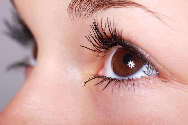 yeux marrons maquillés