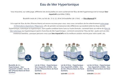 diverses offres d'eau de mer tonique