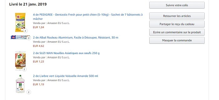 commande amazon pantry